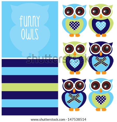Cute and funny owl character pattern vector - stock vector