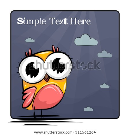 Cute and Funny owl. Icon. Character design. Card. Postcard - stock vector