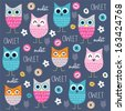 cute and funny owl pattern with buttons vector illustration - stock vector