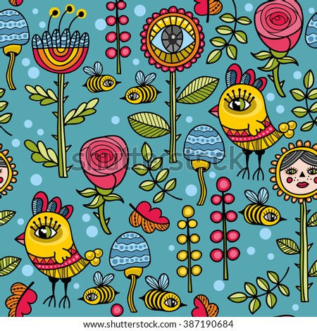 Cute and funny pattern with floral elements, yellow birds and wild bees. Vector seamless background  Flowers, leaves and plants on the blue backdrop. - stock vector
