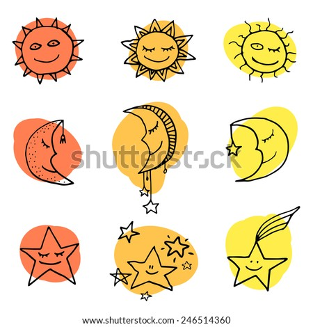Cute and funny sun, moon and stars doodle icons. Vector set  - stock vector