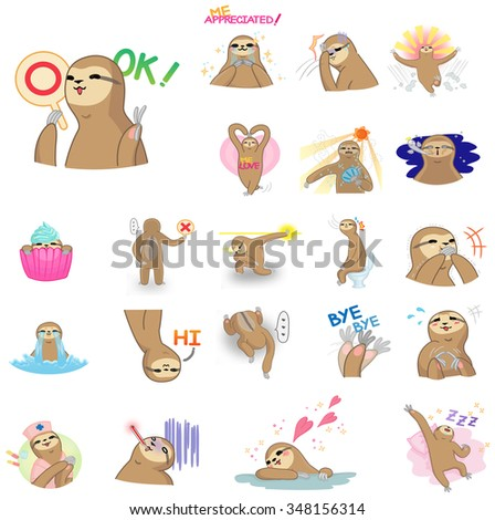 Cute and funny vector cartoon sloth character mascot in action and expression icon set in Japanese manga style. Sloth is a wildlife mammal similar to money or gibbon but move very slow on a tree. - stock vector