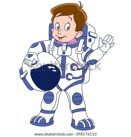 cute and happy cartoon boy astronaut (spaceman, cosmonaut) waving his hand, isolated on a white background - stock vector