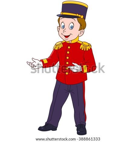 cute and happy cartoon indoor hotel porter (bellboy bellman bellhop doorman