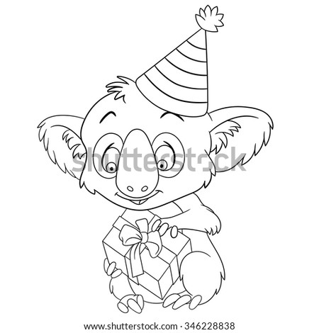 cute and happy new year cartoon koala in a party hat holding a gift box - stock vector