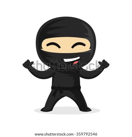cute happy ninja smiling his thumbs stock vector 359792546