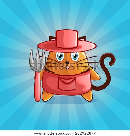 Cute and happy vector farmer cat