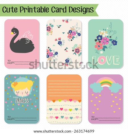 Cute And Love Cards Notes Stickers Labels Tags With Ornament Illustrations