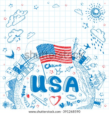 Cute and lovely hand drawn doodle ink cartoon poster with USA flag, ship, cities, Statue of Liberty on the notebook sheet. Tourism vector background with empty space. - stock vector