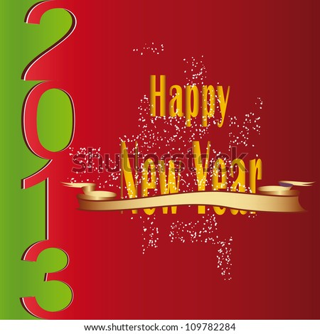 Cute and modern card on New Year 2013