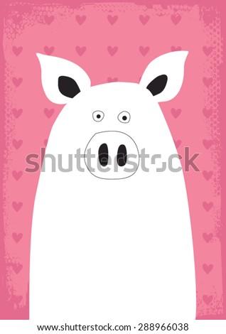 cute and modern pig vector illustration art - stock vector