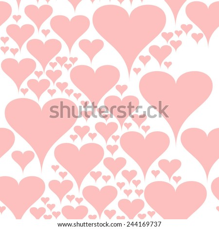 Cute and romantic pattern with pastel pink Valentines hearts.