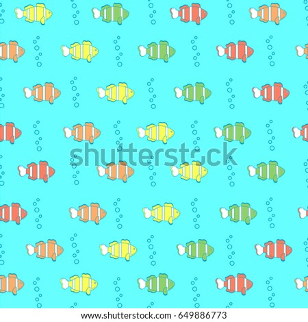 Cute Simple Seamless Pattern Colorful Fish Stock Photo (Photo ...