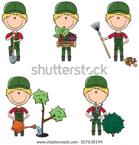 Cute and smart gardeners in different situations - stock vector