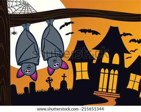 Cute and spooky Halloween scene with bats. Silhouette of a haunted house and graveyard in the background. Large, full moon adds to the atmosphere. - stock vector
