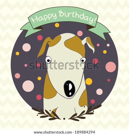 Cute and sweet invitation or greeting card template with hand drawn cartoon doodle dog  - stock vector