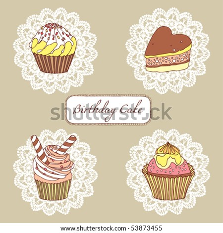 cute and sweet little cupcakes set - stock vector