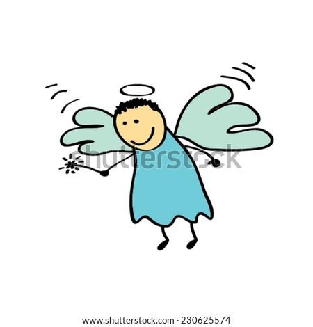 cute angel cartoon - stock vector