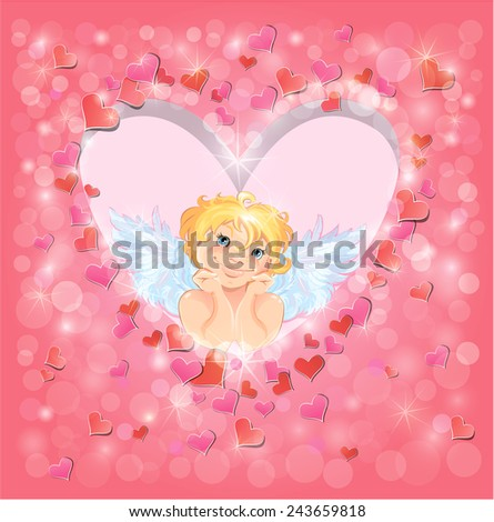 Cute angel in the heart shape frame edged of red paper hearts confetti and lights. Valentines Day card design.  - stock vector