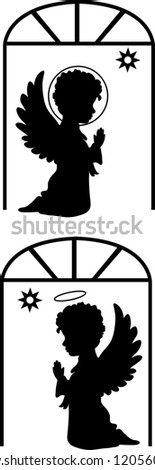 Cute angels silhouettes set catholic, orthodox set with star - stock vector