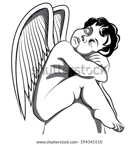 cute angle sleepy - stock vector