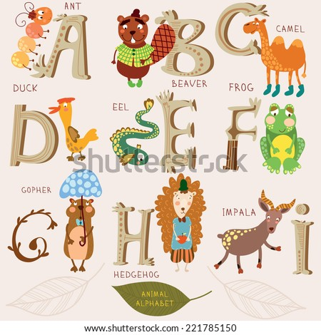 Cute animal alphabet. A, b, c, d, e, f, g, h, i letters. Ant, beaver, camel, duck, eel, frog,gopher,hedgehog,impala. Alphabet design in a retro style. - stock vector
