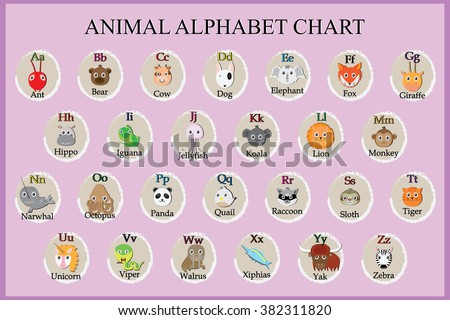 Cute animal alphabet. Funny cartoon character. A, B, C, D, E, F, G, H, I, J, K, L, M, N, O, P, Q, R, S, T, U, V, W, X, Y, Z letters - stock vector