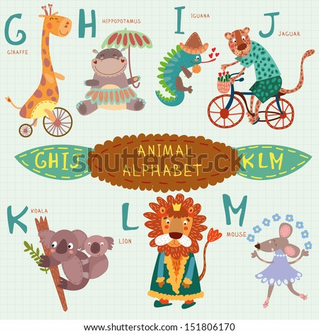 Cute animal alphabet. G, h, i, j, k, l, m letters.  Giraffe, hippopotamus, iguana, jaguar, koala, lion, mouse.Alphabet design in a colorful style. - stock vector