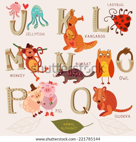 Cute animal alphabet. J, k, l, m, n, o, p, q letters. Jellyfish, kangaroo, monkey, numbat, owl, pig,quokka. Alphabet design in a retro style. - stock vector