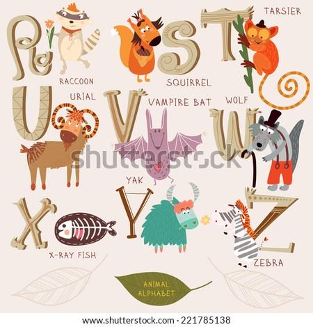 Cute animal alphabet. R, s, t, u, v, w, x, y, z letters. Raccoon, squirrel, tarsier, urial, vampire bat, wolf, x-ray fish, yak, zebra. Alphabet design in a retro style. - stock vector