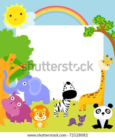 cute animal and frame - stock vector