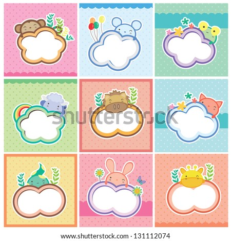 cute animal cards collection - stock vector