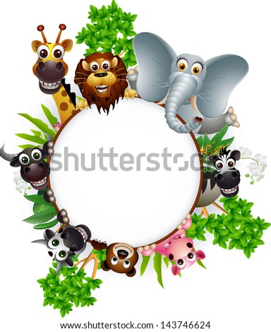 cute animal cartoon collection with blank sign and tropical plant - stock vector