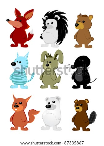 Cute animal character set - stock vector