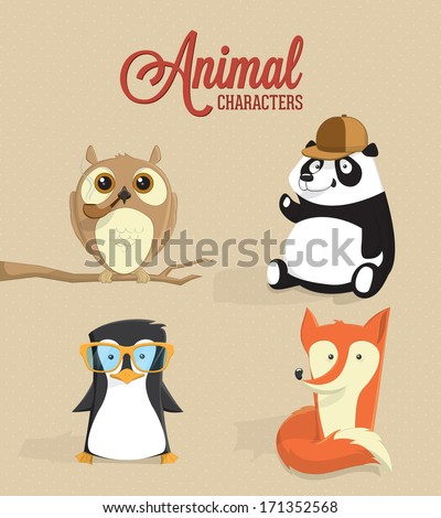 Cute animal characters. Vector illustration - stock vector