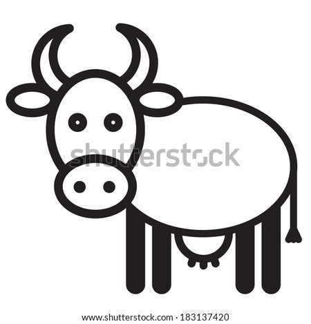 Cute animal cow - illustration - stock vector