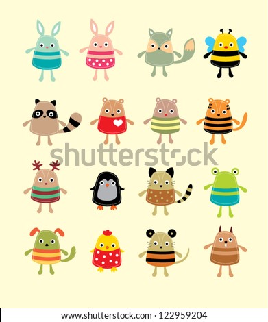 cute animal doodle - stock vector