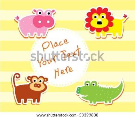 cute animal doodle greeting tag - stock vector