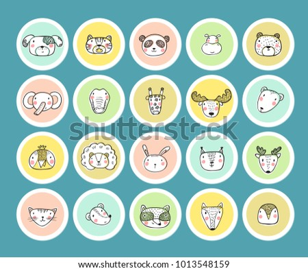 Cute animal face heads round stickers set hand drawn doodle cartoon funny wild animals