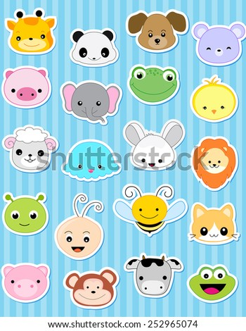 Cute animal face sticker collection specially for kids - stock vector