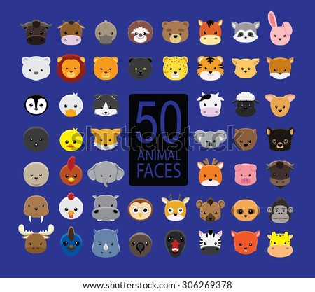 Cute Animal Faces Cartoon Vector Illustration - stock vector