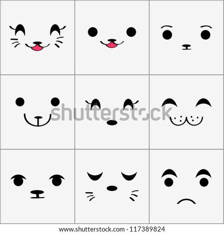 Cute animal faces set - stock vector