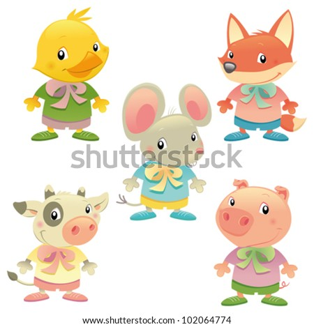 Cute animal family. Vector isolated colored characters. - stock vector