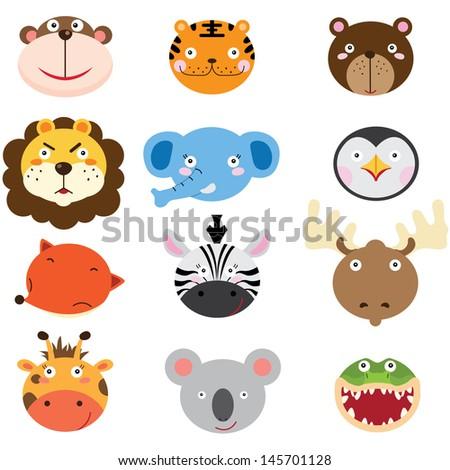 Cute Animal Heads Set - stock vector
