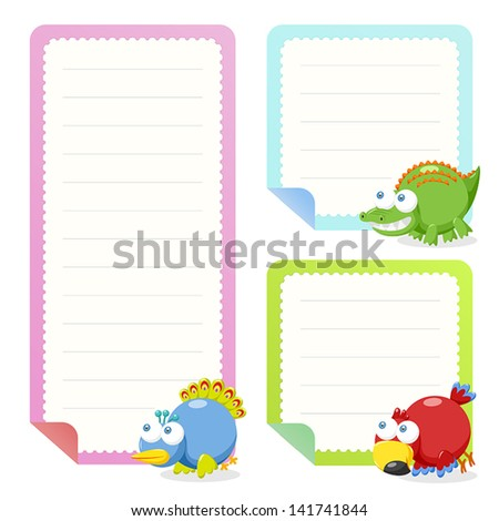 cute animal note papers collection, illustration vector. - stock vector