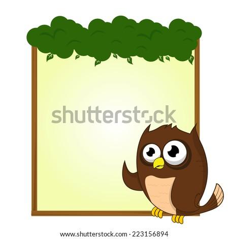 cute animal owl bird blank sign and symbol vector - stock vector