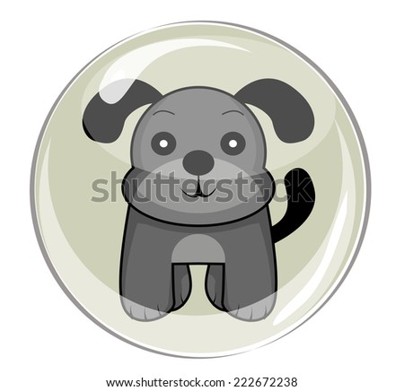 cute animal pet puppy dog with bubble vector - stock vector
