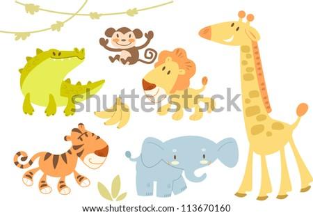 Cute animal set - stock vector