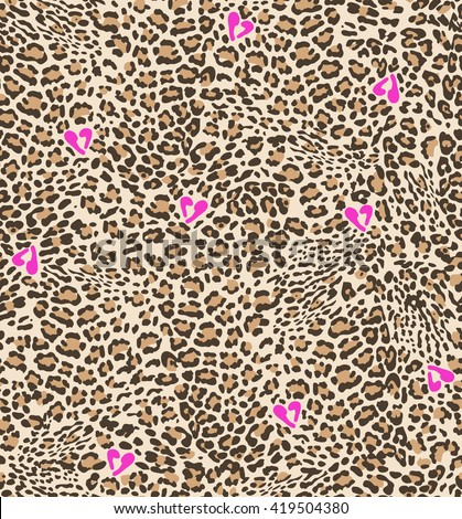 Cute animal spots with hearts ~ seamless background