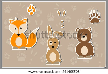 Cute animal sticker vectors - fox, rabbit and bear - together with paw print sticker vectors - stock vector